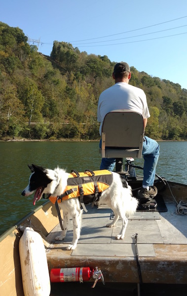 Harper in boat